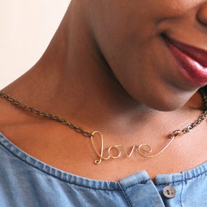 "Brass ""Speak to my Heart"" Cursive Statement Necklaces"