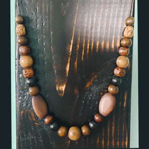 Unisex Multi-Color Wooden Beaded Necklace