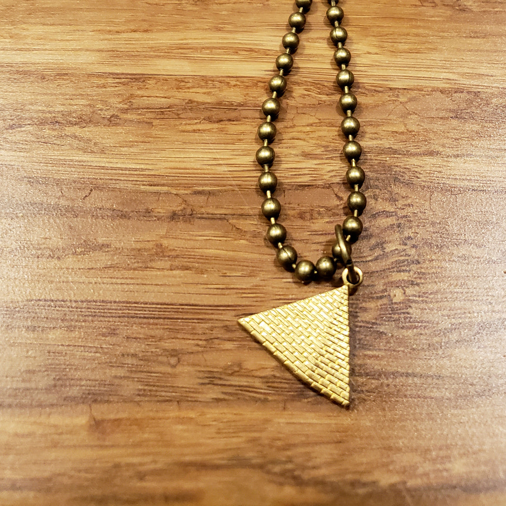 """Remember the Time"" Brass Pyramid Charm Necklace"