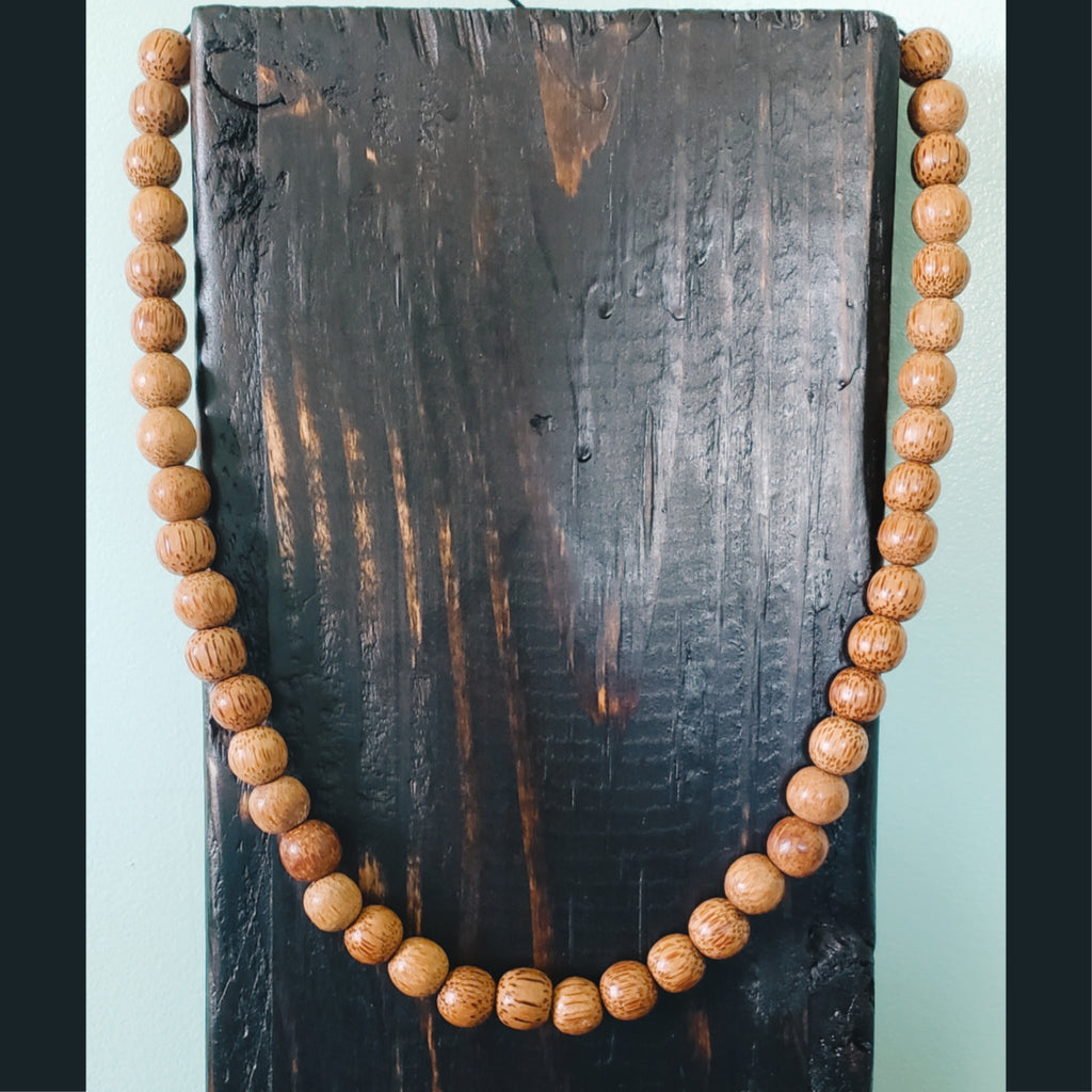 Unisex Speckled Tan Wooden Beaded Necklace