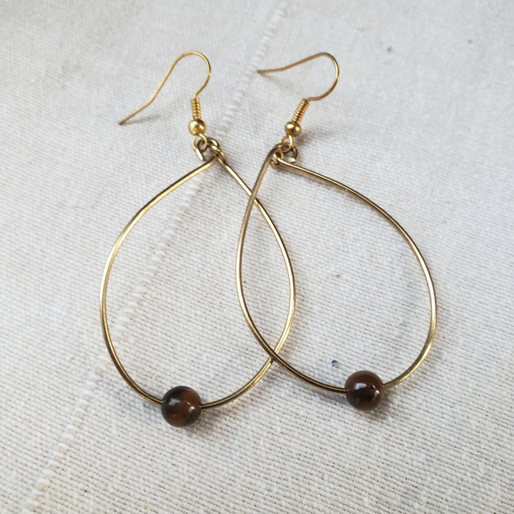 """No I'm Not Gon' Cry"" Brass Teardrop Earrings with Tigerseye Bead"