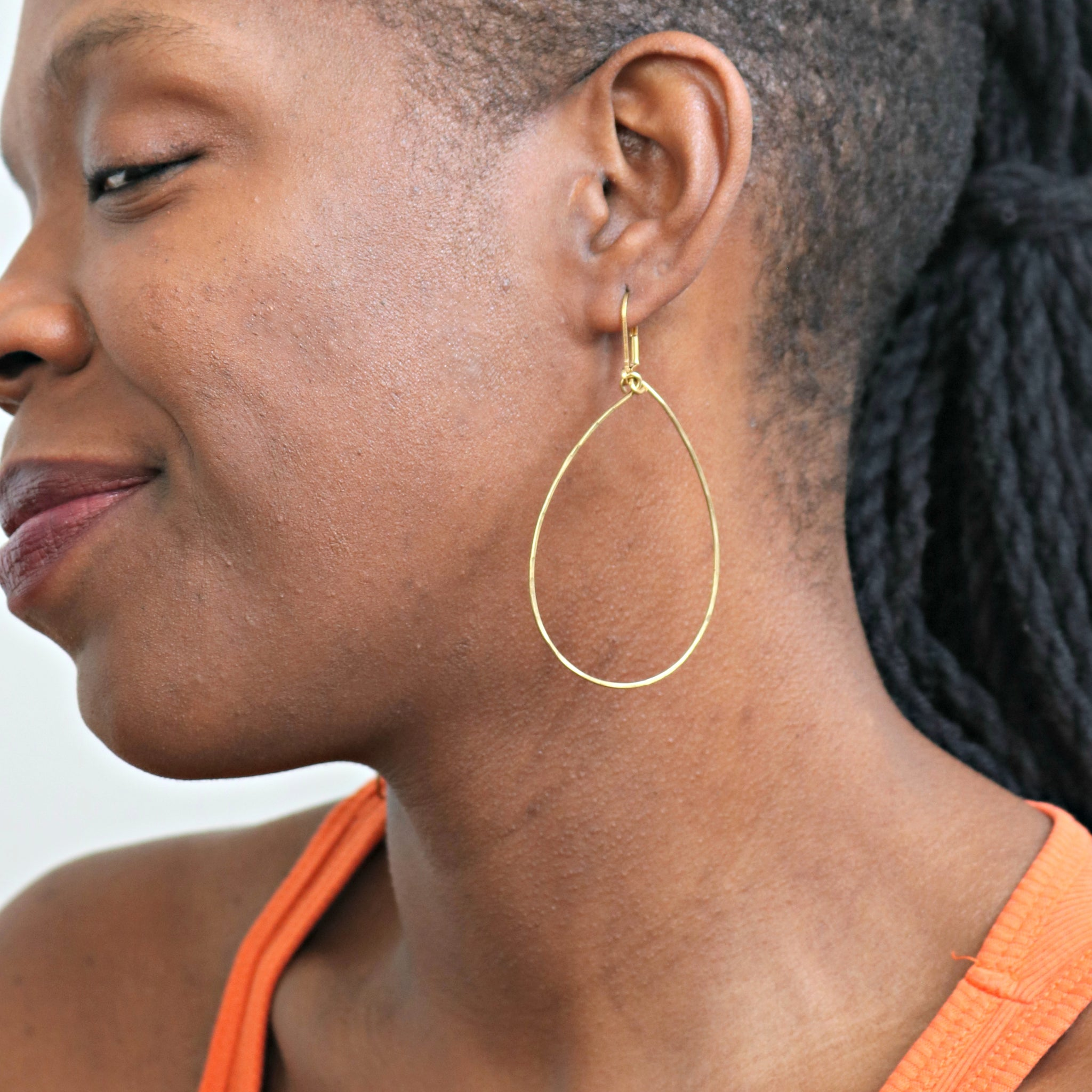 """You Don't Have to Cry"" Hammered Teardrop Earrings"