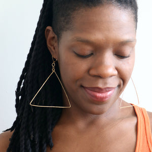 """Everything Must Change"" Hammered Triangle Earrings"