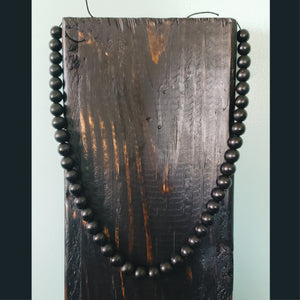 Unisex Black Wooden Beaded Necklace