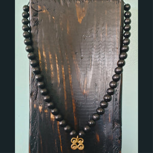 Adinkra-Charmed Unisex Black Wooden Beaded Necklace