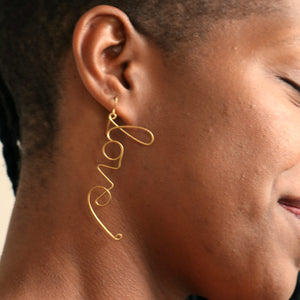 "Single ""Say What You Mean to Say"" Wrought Brass Cursive Earring"
