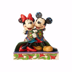 Jim Shore - Mickey and Minnie Wrapped in Christmas Blanket / Quilt (Disney Traditions Figurine)