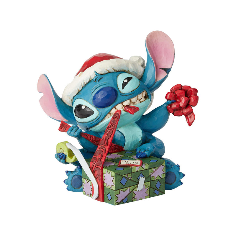 "Jim Shore - Stitch Wrapping Christmas Present ""Bad Wrap"" (Disney Traditions Figurine)"