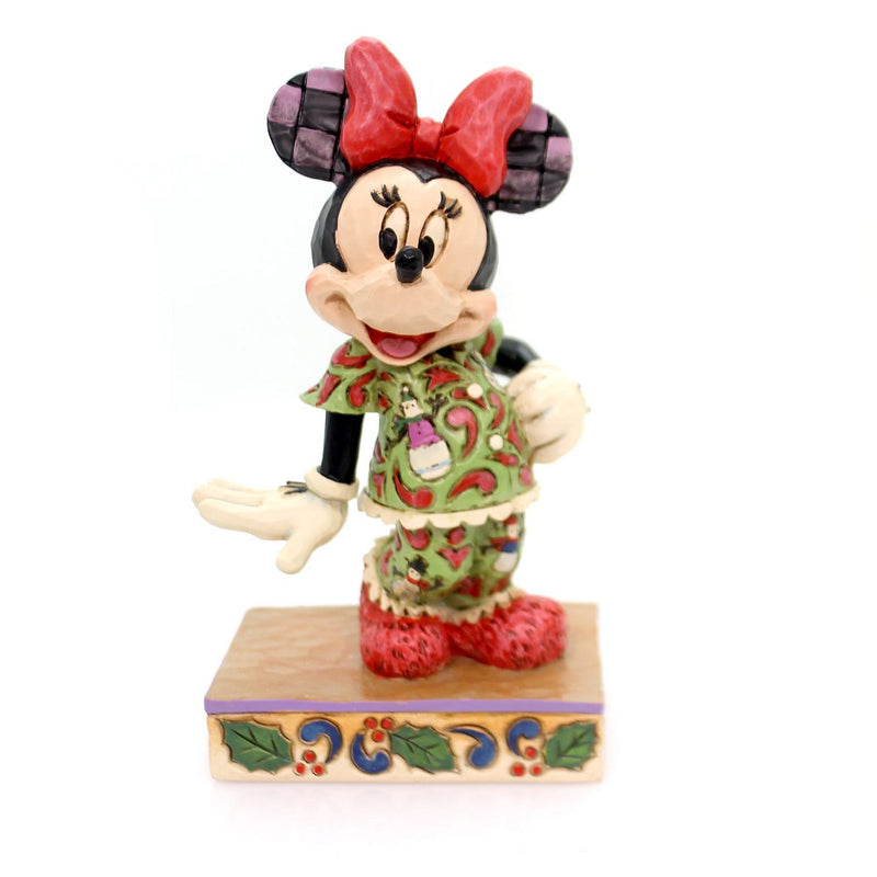 "Jim Shore - Minnie Mouse in Christmas Pajamas ""Comfort and Joy"" (Disney Traditions Figurine)"