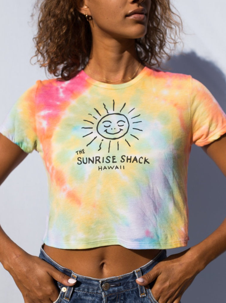 Women's rainbow tie-dye crop shirt
