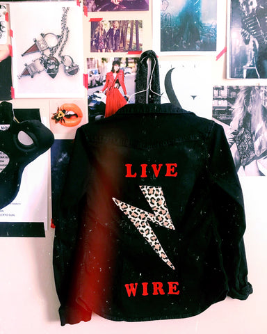 Live Wire Motley Crue Inspired Custom Shirt Jacket by Black Revolver Clothier
