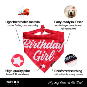 RUBOLD Trend Setter Birthday Girl Bandana - dog grooming tools and dog care products