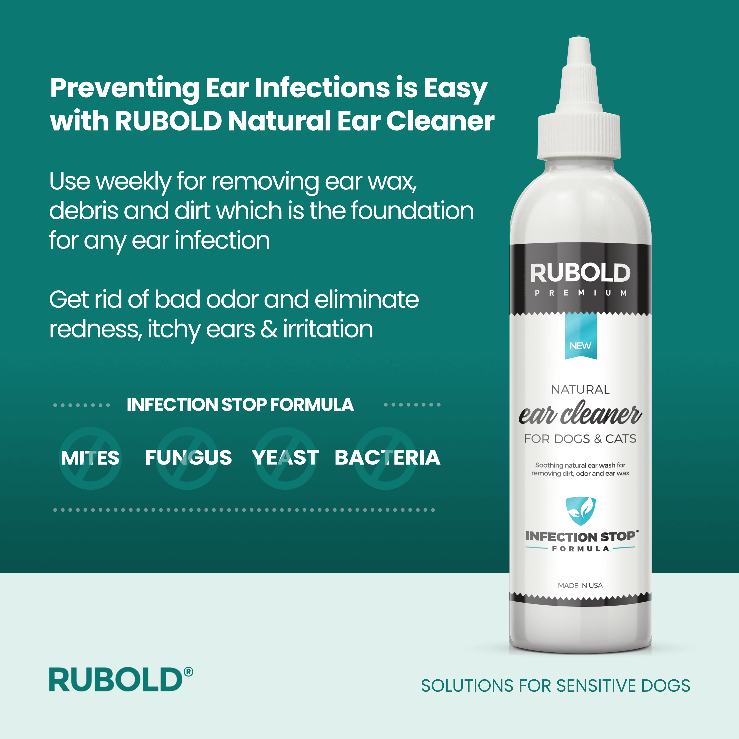 Natural Ear Cleaner for Pets - dog grooming tools and dog care products
