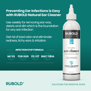 RUBOLD Natural Ear Cleaner for Pets - dog grooming tools and dog care products