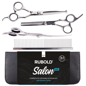 RUBOLD Salon Cut 3+1 Grooming Scissors Set - dog grooming tools and dog care products