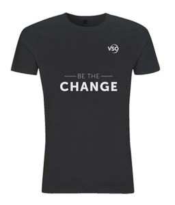 Be The Change Slim Fit Jersey Men's T-shirt (white logo)