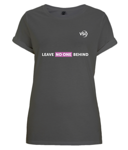 Leave No One Behind Women's Rolled Sleeve (white logo)