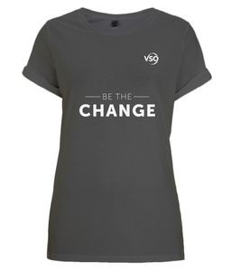 Be The Change Women's Rolled Sleeve T-Shirt (white logo)