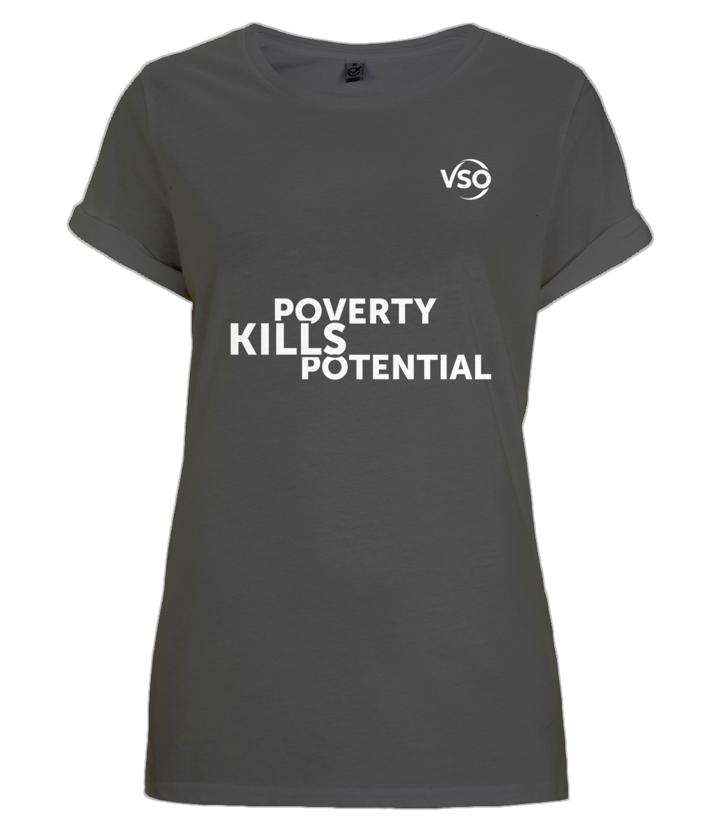 Poverty Kills Potential Women's Rolled Sleeve T-Shirt (white logo)