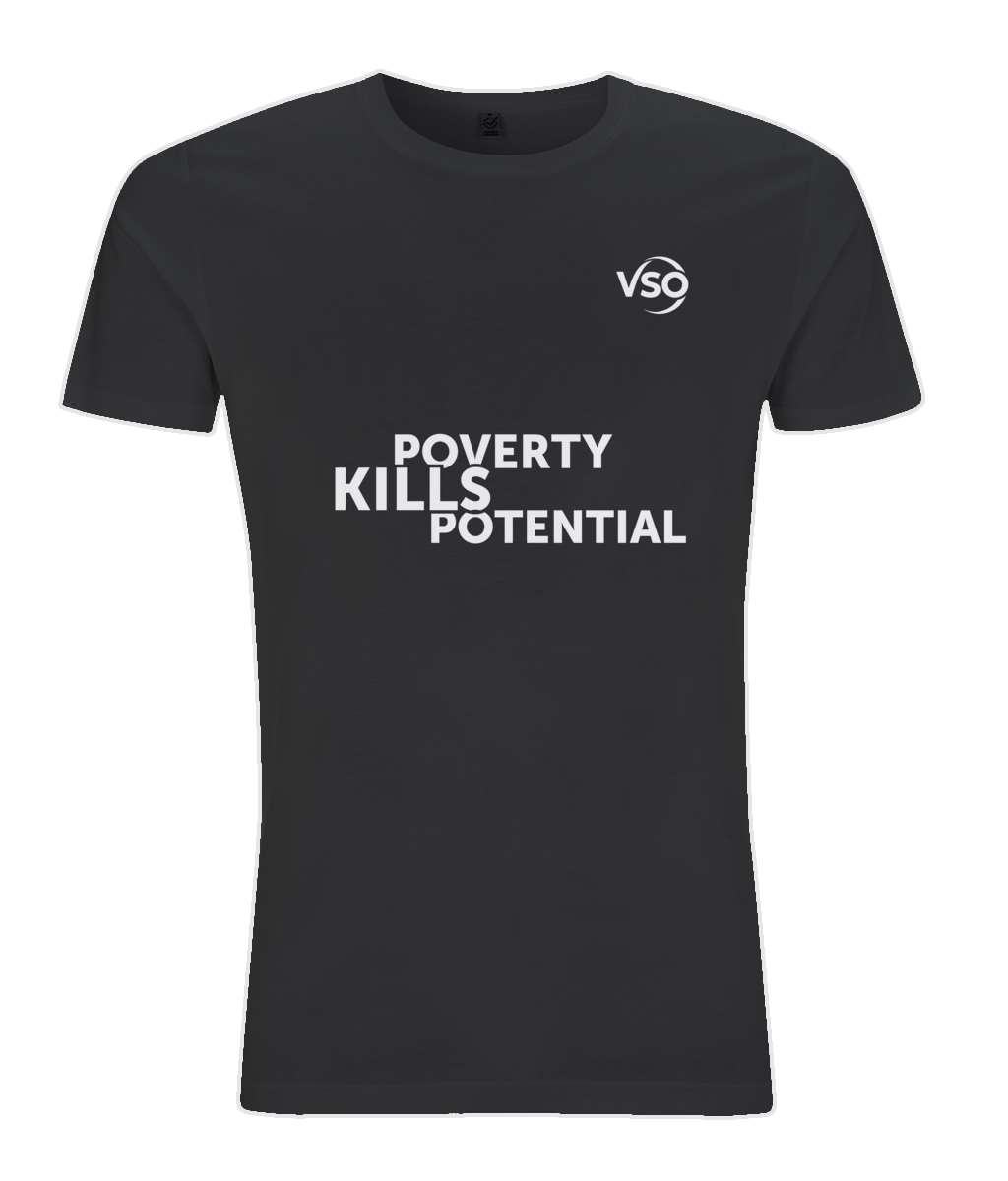 Poverty Kills Potential Slim Fit Jersey Men's T-shirt (white logo)