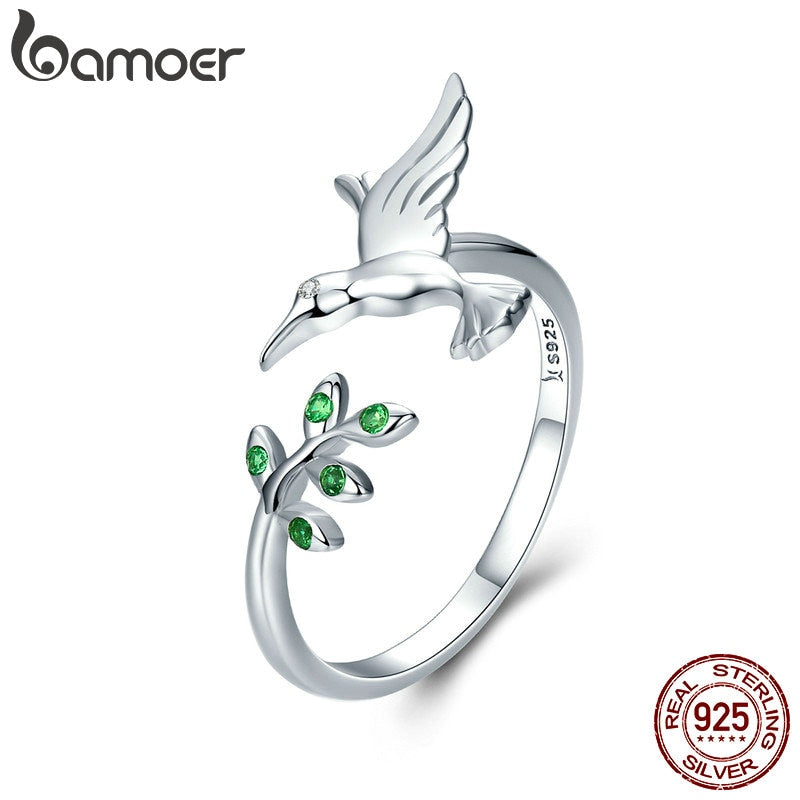 BAMOER Authentic 925 Sterling Silver Bird & Spring Tree Leaves Open Size Finger Rings for Women Sterling Silver Jewelry SCR323