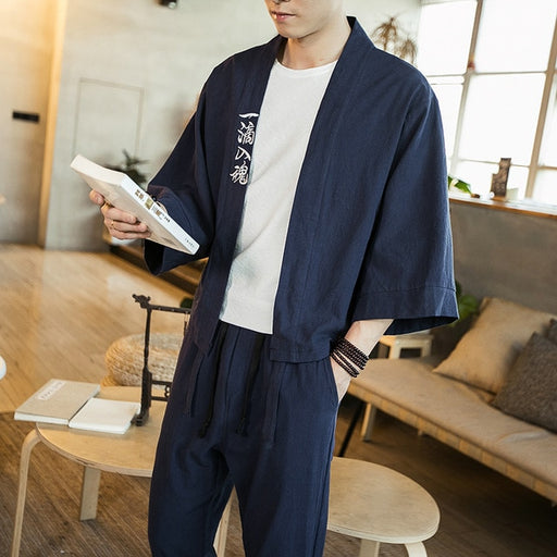 Sinicism Store 2019 Cotton Linen Men Shirts Kimono Male Chinese Japan Style Embroidery Three Quarter Sleeve Open Stitch Shirts
