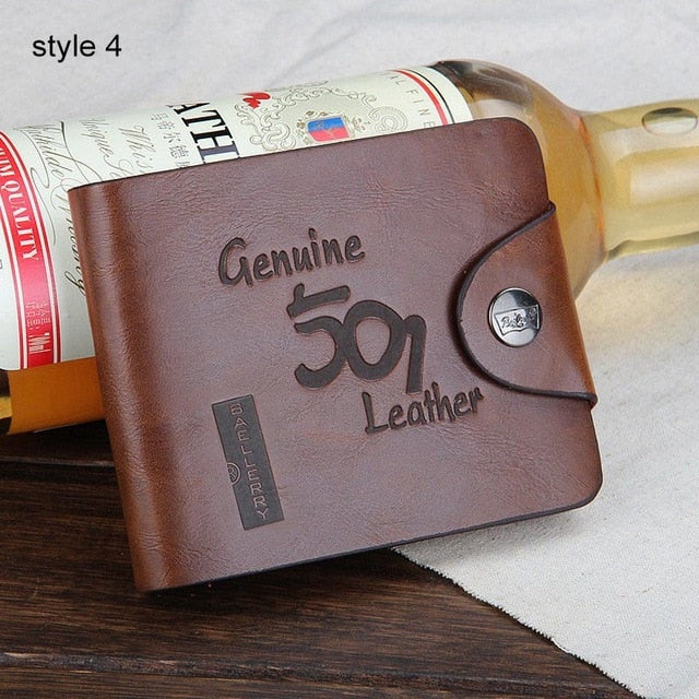 Baellerry Leather Vintage Men Wallets Male Money Bag Hasp Hollow Out Small Wallet Men Clutch Purse Card Holder Coin Pocket W014