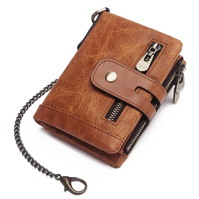 KAVIS  Rfid Genuine Cow Leather Wallet Men Coin Purse Male Cuzdan PORTFOLIO MAN Portomonee Small Min Walet Pocket Fashion Hasp