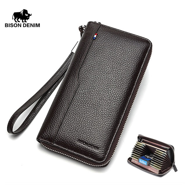 BISON DENIM 100% Cow Leather Clutch Wallets for Men Card Holder Wallet Coin Purse Long Phone Wallet N8226-2