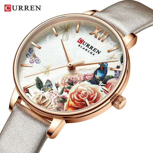 CURREN Beautiful Flower Design Watches Women Fashion Casual Leather Wristwatch Ladies Watch Female Clock Women's Quartz Wat