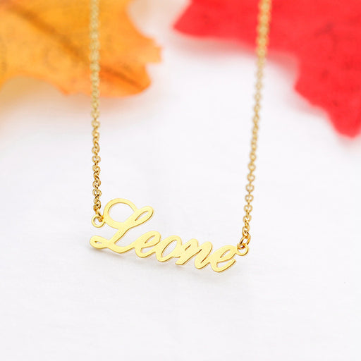 Rose Gold Silver Color Personalized Custom Name Pendant Necklace Customized Cursive Nameplate Necklace Handmade Birthday Gift