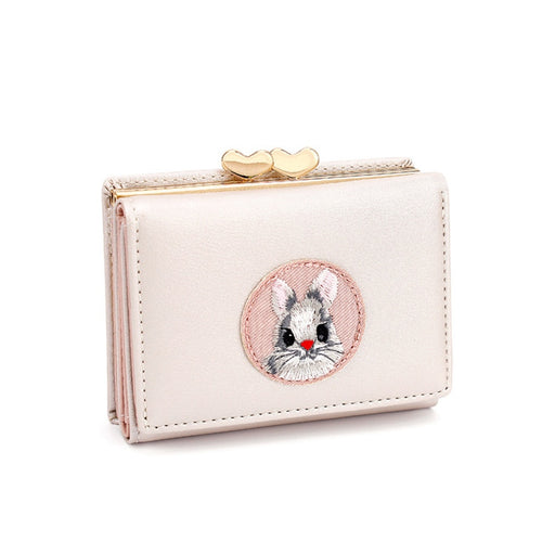 Cute Multi-card Women Wallet Rabbit Cloth Stickers Change Folder Japanese Kawaii Girl Short Multi-function Coin Purse Card Sets