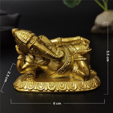 Golden Lying Ganesha Buddha Statue Elephant God Sculpture Ganesh Figurines Man-made Stone Home Garden Decoration Buddha Statues