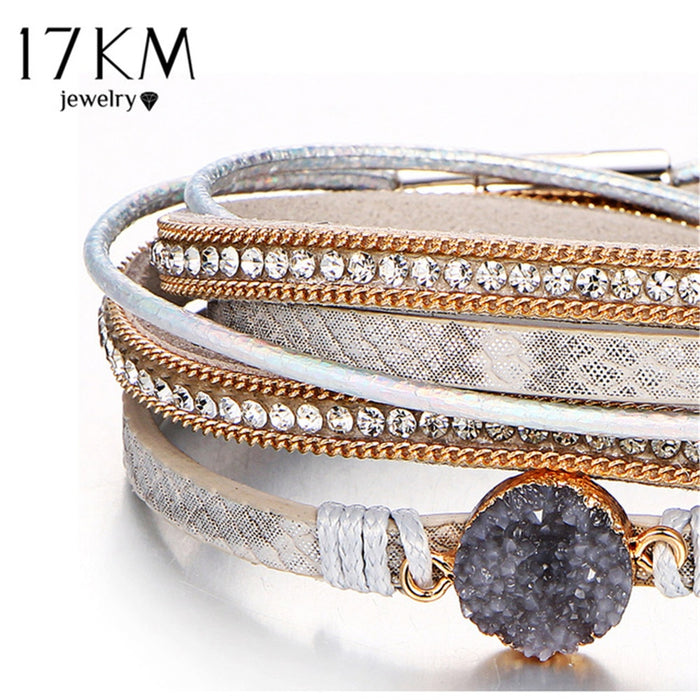 17KM Vintage Stone Crystal Charm Bracelets & Bangle For Woman Men Fashion Female Handmade Multilayer Leather Wristband Bracelet