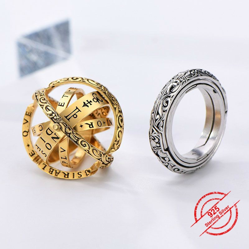 925 Sterling Silver Astronomical Ball Ring Gold Spherical Gold Ring Pendant Armillary Sphere Ring Jewelry Unfolding is the World