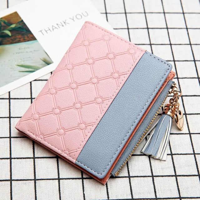 New ladies short wallet female zipper wallet fashion fresh Korean version of the large capacity tassel love stitching handbags