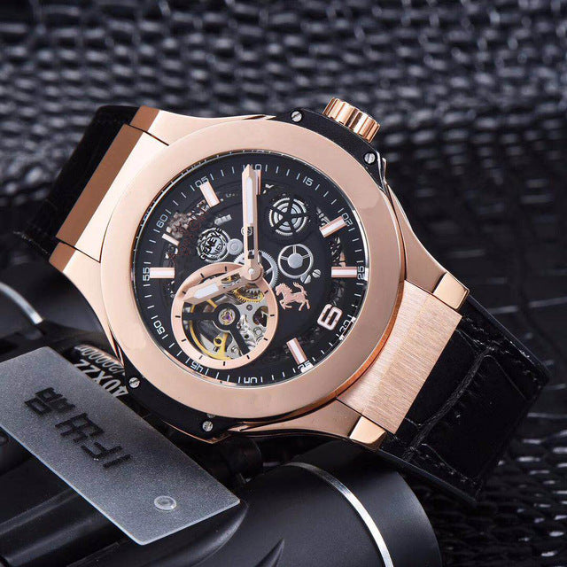 Luxury Brand New Men Rose Gold Automatic Mechanical Sapphire Tourbillions Watches Glass Back See Through Black Leather AAA+