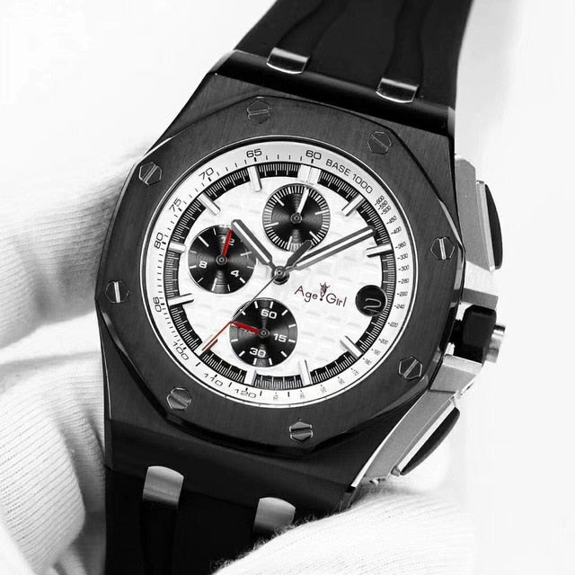 Luxury Brand New Quartz ChronographSports Men Watch Stopwatch Lebron James Fashion Sapphire Crystal Watches Black Rubber AAA+