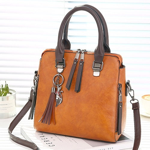 SWDF Leather Ladies HandBags Women Messenger Bags Totes Tassel Designer Crossbody Shoulder Bag Boston Hand Bags Hot Sale