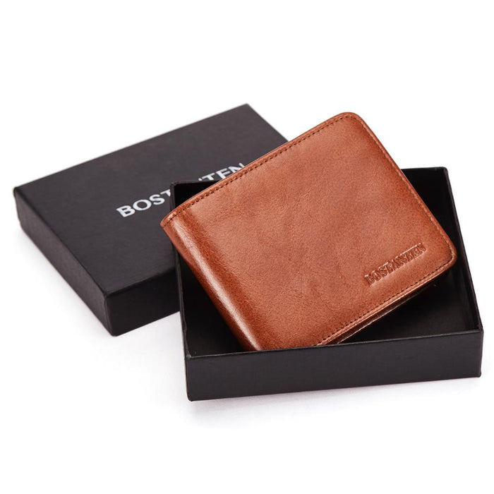 BOSTANTEN Genuine leather men wallet RFID with coin pocket short vintage wallets with card holders man purse With Box