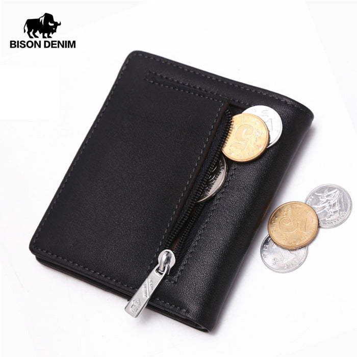 BISON DENIM Fashion Purse Men's Genuine Leather Wallet Quality Mini Wallet Male Card Holder Small Zipper Coin Purse W9317