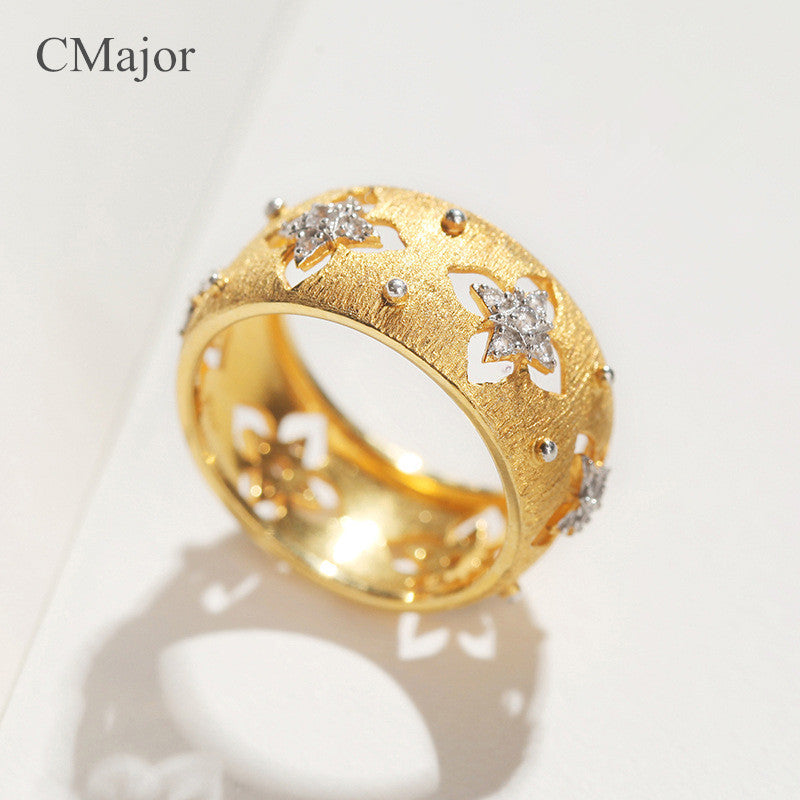 CMajor Italian 925 silver jewelry hollow four-leaf clover rings elegant vintage palace gold St. Patrick's Day rings for women