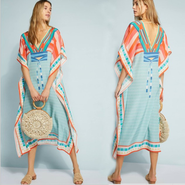 Women Summer Maxi Sundress Orange Casual Folk Print Split Dress Kaftan Bohemian Floral Chiffon Tunic Beach Party Dress Plus Size