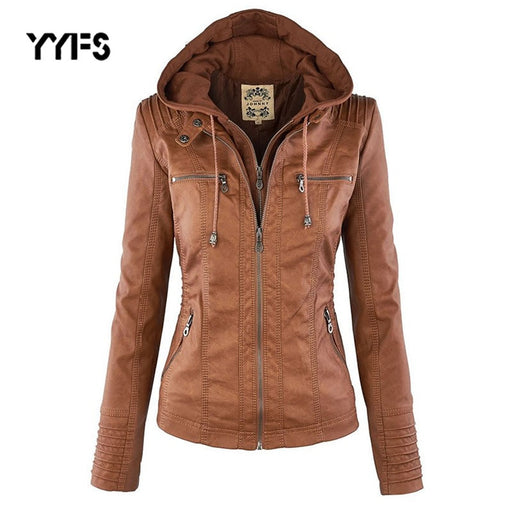 hooded leather Jacket women Gothic faux PU Jacket coat 2019 fashion Moto faux leather PU Coat female Plus size 7XL chaqueta muje