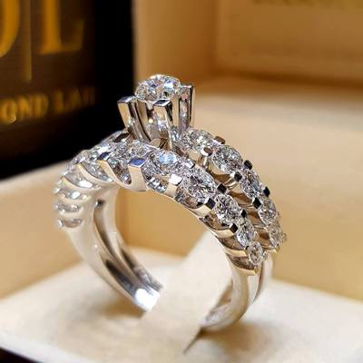 2pcs/lot Silver Double Big Rings Set Engagement For Woman Men Cubic Zirconia Ring Female Ladies Lover Party Wedding Jewelry