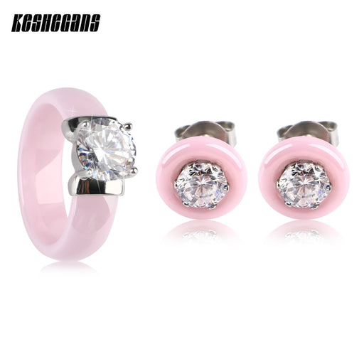 Valentine's Day Gift Lovely Pink Ceramic Jewelry Set For Women Big Crystal Rings Cute Rhinestone Stud Earrings Lady Girl Jewelry