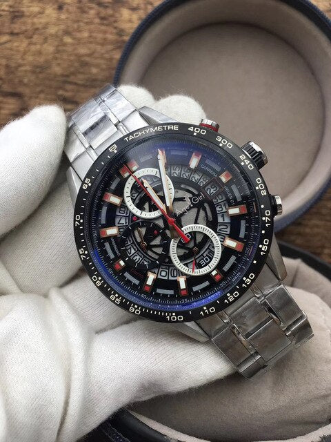 Luxury Brand New Silver Stainless Steel Calendar Men Watches Chronograph Stopwatch Sport Black Coffee Skeleton Casual Watch AAA+