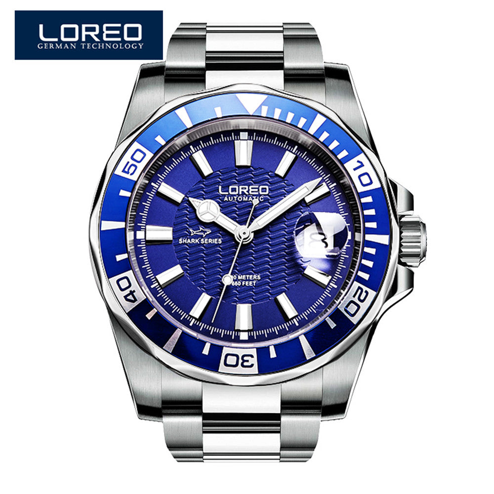 2019 New Design LOREO Watches Steel Brand Automatic Mechanical Watch Men Diver Watches 200M Waterproof Auto Date Luminous Watch