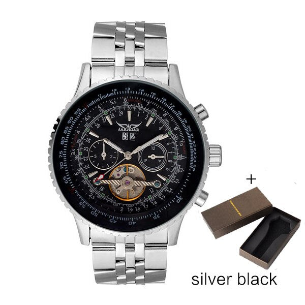 JARAGAR Brand Fashion Casual Mechanical Watch Men Stainless Steel Band Automatic Watches Luxury Tourbillon Auto-Calendar Clock