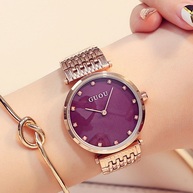 Fashion Ladies Watch Women's Simple Thin Rhinestone Rose Gold Quartz Watches Women Watches Dress Wristwatch For Women relojes